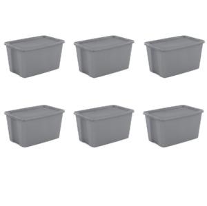 30 GALLON PLASTIC STORAGE CONTAINERS 6 Pack Sterilite Stackable Tote Box Bin Lid