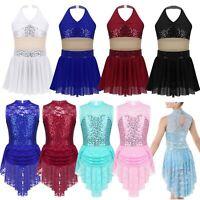 Girls Contemporary Lyrical Modern Dance Dress Sequins Ballroom Leotard Costumes