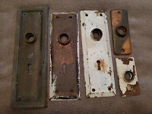 VINTAGE LOT OF METAL DOOR KNOB ~ DOOR BELL BACKPLATES - VARIETY
