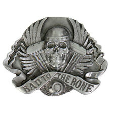 "- 3""x3"" Belt Buckle Bad to the Bone Motorcycle"