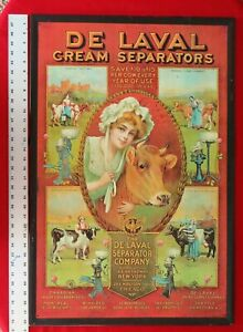 "Nice De Laval Cream Separator Tin Sign 32.5"" X 21.5"" X .5"" lip Copyright 1910"