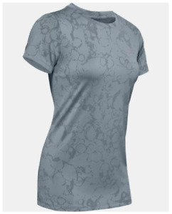 Under Armour Training Tee Womens Small New Tech Marble Jacquard Turquoise Blue