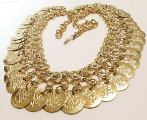 VINTAGE GOLD COIN OLD INDIA TRIBAL BIB NECKLACE