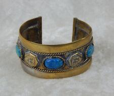 Bedouin Egyptian Metal Scarab Cuff Bracelet Vintage Semi-Precious Stones Signed