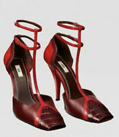 ZARA NEW FW19 CAMPAIGN SNAKESKIN PRINT LEATHER HEELED SHOES RED UK 4