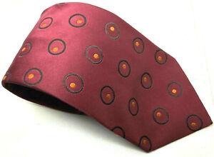 "Banana Republic Men's Tie Red Circle Abstract 100% Silk 3.75"" Width 58"" Long"