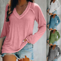 Womens Long Sleeve V Neck T Shirt Casual Solid Pullover Blouse Loose Basic Tops