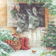 ==4 Single paper decoupage napkins. Winter, snow, donkey design-X38