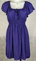 Sportsgirl Women's Dress Size 8 Blue Short Sleeve Elastic Waist Lined