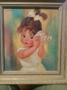 """1960's SOULET CHILD'S ART PRINT~2 GIRLS~KITSCH VTG.~9X10""""~IN ORIGINAL FRAME"""