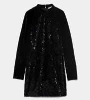 ZARA WOMAN NWT SALE! BLACK CONTRAST SEQUIN DRESS SIZE XL REF: 2731/250