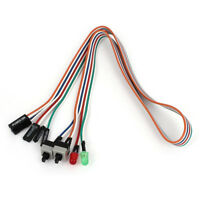 """PC Case Red Green LED Lamp ATX Power Supply Reset HDD Switch Lead 20"""" WS N2P3"""