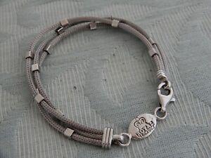 "Unusual 3 Row Vintage ""Royal London"" Modernist Silver Bracelet , from old estate"