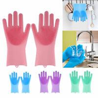 PAIR Magic Silicone Dishwashing Scrubber Rubber Scrub Gloves Kitchen Clean Color