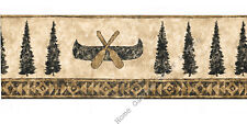 Canoe Paddle Pine Tree Silhouette Rustic Cabin Lodge Diamond Wallpaper Border
