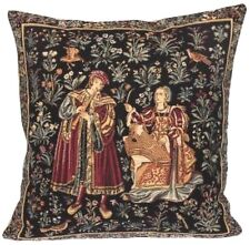 """MIDDLE AGES SCENE MEDIEVAL CONCERT ZIPPED TAPESTRY CUSHION COVER, 18"""" X 18"""""""