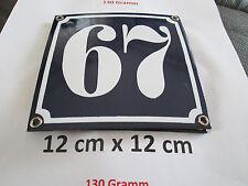Hausnummer Emaille Nr. 67  weisse Zahl auf blauem Hintergrund 12 cm x 12 cm