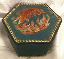 ANTIQUE VINTAGE CHINESE KWANGTUNG HANDWORK EMBROIDERED FISH TRINKET BOX
