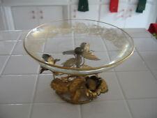 Hollywood Regency Italian Florentine Ormolu Gold Gilt Tole Roses Glass Pedestal