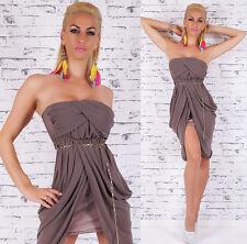 SeXy Miss Chiffon Bandeau Mini Kleid Party Dress Ketten Gürtel 34/36/38 braun