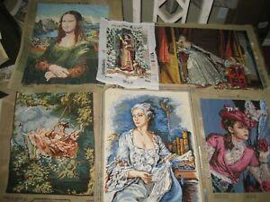 LOT Vtg Finished Needlepoint Romantic Woman Theme: Le Baiser Vole, Mona Lisa ++
