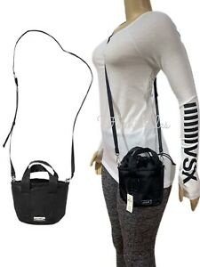 Victorias Secret PINK Satin Mini Bucket Bag Crossbody Purse Black