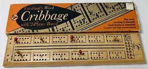 Drueke Cribbage Wooden by Cardinal 2 Handed Game Vintage in Original Box