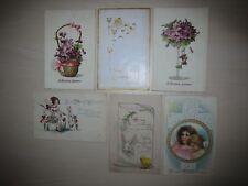 Lot of 6 antique Easter / Eastertide postcards, Bergman violets cross bunny lily