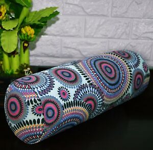 af256g Fuschia Grey FLower Cotton Canvas Yoga Bolster Cushion Cover Custom Size