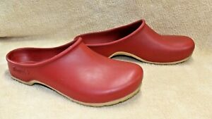 Sloggers Clogs Shoes Rubber Red Gardening Rain Outdoors Women 6 USA Clean #h