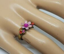 Michal Negrin Romantic hand made Swarovsky Crystals flower ring pink #2