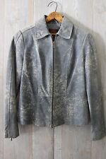Gorgeous DANIER Speckled ICE BLUE SUEDE Leather Fitted Biker JACKET S P