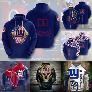 New York Giants Men's Footbball Hoodie Hooded Sweatshirt Active Pullover Jacket