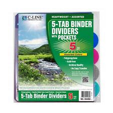 C-Line Biodegradable 5-Tab  Binder Index Dividers with Slant Pockets