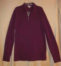 Burberry Brit Long Sleeve Cotton Knit Polo Shirt Mens Sz Large Burgundy   EUC