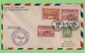 Philippines 1937 First Flight via PAA, Manila-Macao-Hong Kong cachet cover