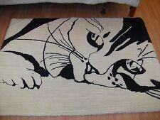 Rug Black and White Custom Wool Kitten Cat Area Rug----- Cat / Kitten Rug