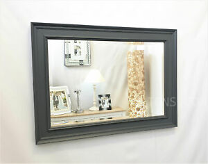 Contemporary Grey Solid Wood Frame Modern Wall Mirror Bevelled Glass 92x66cm