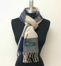 Echarpe homme femme 100 % CACHEMIRE d' ECOSSE laine bicolore bleu marine/écru