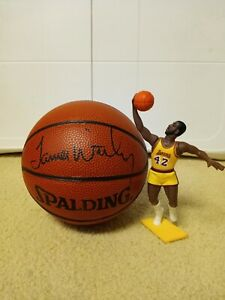 James Worthy Los Angeles Lakers Autographed Mini Basketball and Starting Lineup
