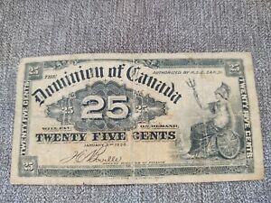 1900 Dominion of Canada 25Cent Banknote Boville 201180