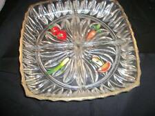 RETRO GLASS VEGETABLE DISH/BOWL WITH 4 SECTIONS