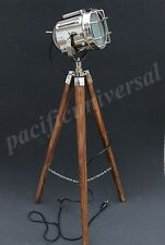 Nautical Marine Floor Lamp With Wooden Fix Tripod Modern Searchlight Spot Lamp.