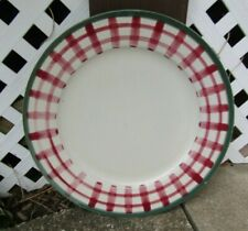 HARTSTONE POTTERY Stoneware Dinner Plate Charger Size Red Green Lattice Check