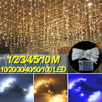 US LED Window Curtain String Lights Outdoor Icicle Fairy Lights Xmas Party Decor