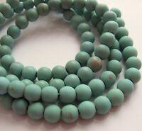 "Matte Blue-Green Magnesite Roundish Beads - 8 mm - 14"" STR"
