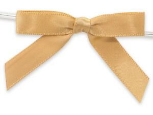 """12 Gold 2"""" Pre-tied Satin Bows 4-1/2"""" Twist Ties 3/8"""" Ribbon Bags Crafts Gifts"""