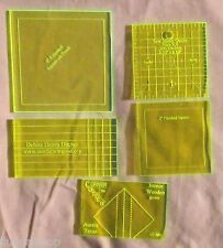 """QUILTING Lot 3 Squares & 2 Rectangle Templates Woodworking & Craft Pattern 1/8"""""""