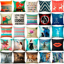 Colorful Animal Girl Cotton Linen Pillow Case Home Decor Cushion Covers 18 x 18