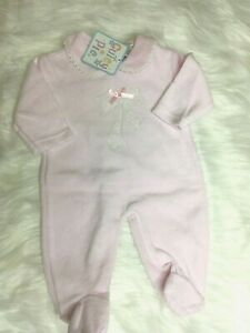 Spanish Romany Style baby Girl baby grow bow pink velour NB 0-3 m 3-6months